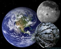 A Borg Sphere passing the far side of the Moon. 