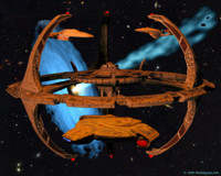 The Defiant leaves Deep Space 9 with Voyager and the Enterprise E docked. 