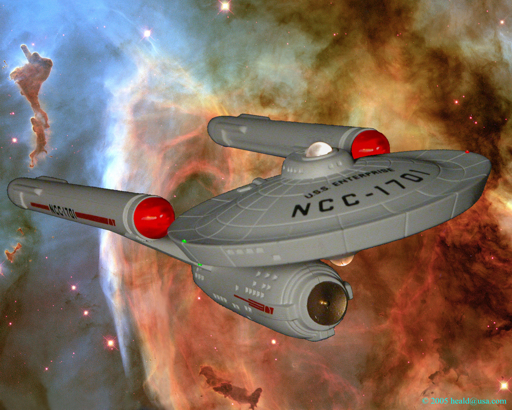 Star Trek: The Enterprise emerges from the Carina nebula.