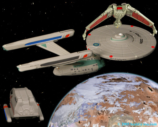 "Star Trek: The Enterprise A is stalked by a Klingon Bird-of-Pray waiting for it to lower its shields to retrieve the shuttle Galileo returning from Nimbus III, the planet of galactic peace, in ""The Final Frontier""."