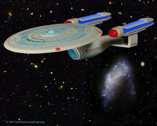 Star Trek: Enterprise C by the Arrowhead galaxy, NGC 1427A, which looks a lot like the Star Fleet insignia.