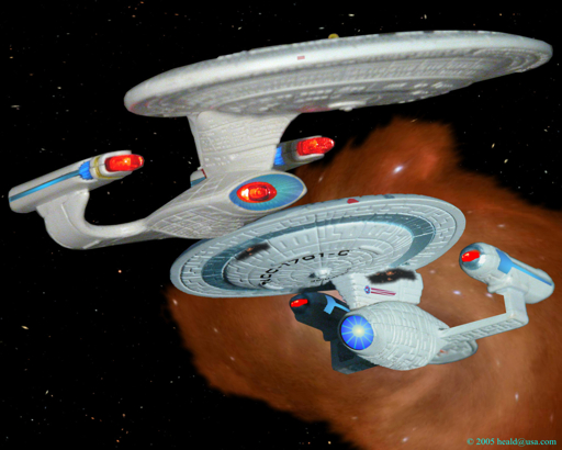 "Star Trek: Enterprise C emerges from a subspace rift 22 years in its future to join forces with the D in ""Yesterday's Enterprise""."