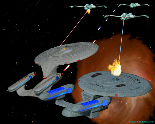 Star Trek: As the Enterprise C returns through the subspace rift, the D defends it from three Klingon K'Vort battle cruisers.