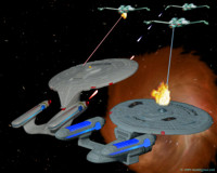 Enterprise C returns through the subspace rift.  