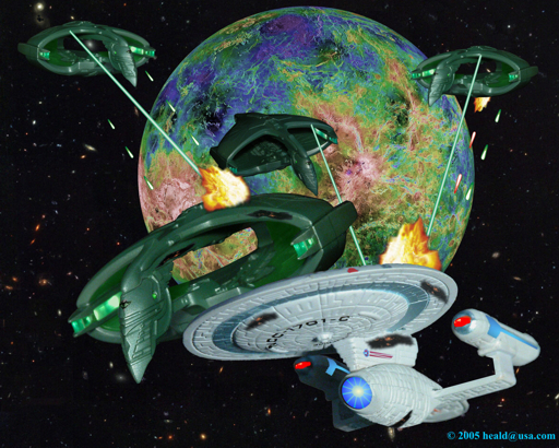 Star Trek: Back in its time, Enterprise C defends the Klingon outpost on Narendra III from four Romulan Warbirds.