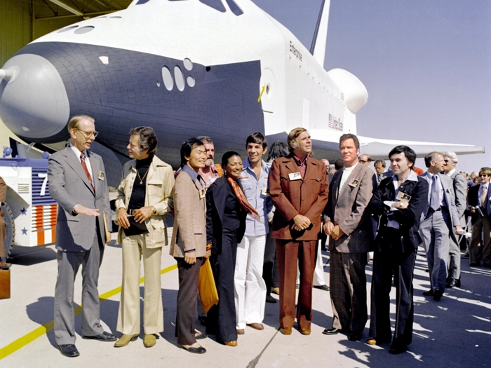 The Space Shuttle Enterprise and the Cast of Star Trek in 1976.