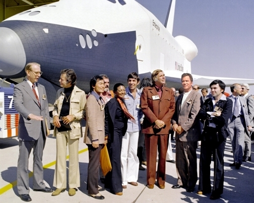 In 1976, NASA's space shuttle Enterprise rolled out of the Palmdale, CA manufacturing facilities and was greeted 