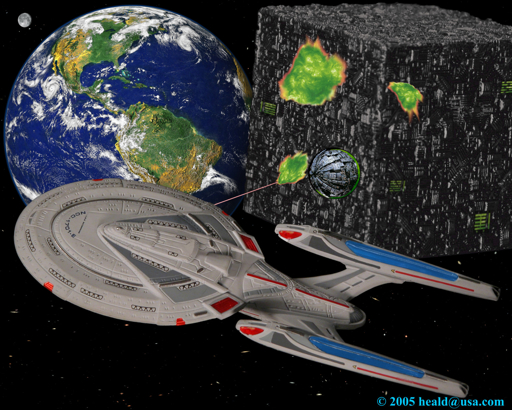 "Star Trek: While Starfleet defends Earth, the Borg launch a temporal sphere to travel back to 2063 and assimilate Earth before the invention of warp drive in ""First Contact""."