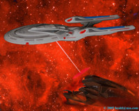 The Enterprise E fires on the Son'a Command ship.