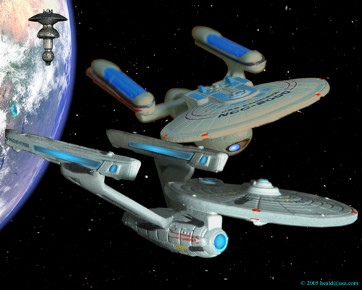 "Star Trek: The battle scarred Enterprise escapes from Federation Space Dock pursued by the Excelsior in ""The Search for Spock""."