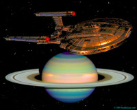 Enterprise NX-01 passing by Saturn. 