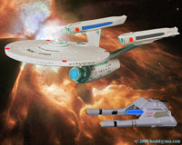 The Vulcan long-range Shuttle Surak overtakes the newly retrofitted Enterprise NCC-1701. 
