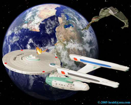 "Star Trek: The Enterprise is fatally wounded by a Klingon Bird-of-Prey over the Genesis planet in ""The Search for Spock""."