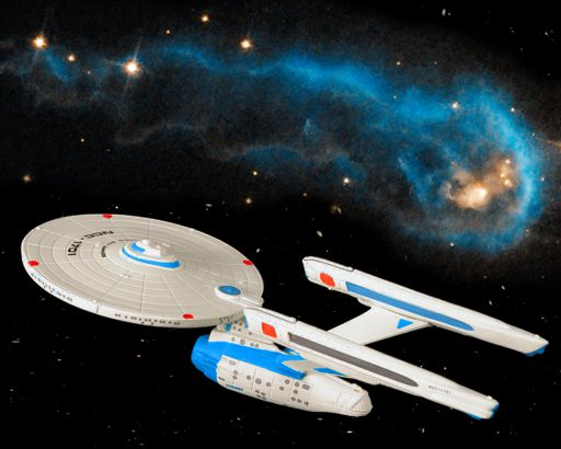 The retrofitted Enterprise NCC-1701 encounters a curious worm in space.