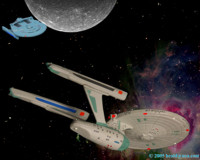 The Enterprise heads for the Mutara nebula to evade the Reliant.