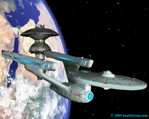 "Star Trek: The newly retrofitted Enterprise NCC-1701 leaves the Federation Space Dock in ""Star Trek: The Motion Picture""."