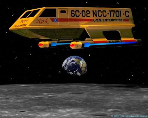 Star Trek: The Enterprise C's Shuttle Craft Kirk orbiting the Moon with a 3/4 Earth just over the horizon.