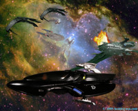 Picard and Data escape from the Reman Warbird Scimitar using a Scorpion Attack Flyer.